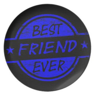 Mejor amigo siempre azul plato de comida