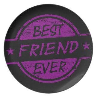 Mejor amigo siempre púrpura platos para fiestas