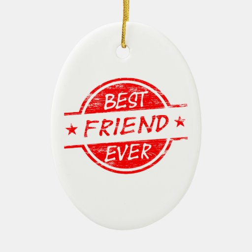 Mejor amigo siempre rojo adorno navideño ovalado de cerámica