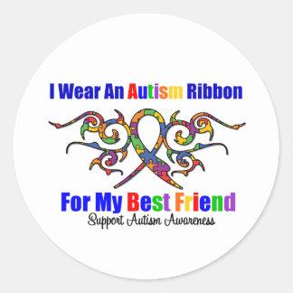 Mejor amigo tribal de la cinta del autismo etiquetas redondas