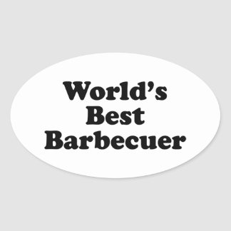 Mejor Barbecuer del mundo Pegatina Ovalada