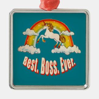 Mejor Boss nunca Adorno Navideño Cuadrado De Metal