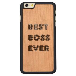 Mejor Boss nunca Funda De Cerezo Carved® Para iPhone 6 Plus Slim