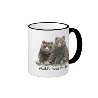 Mejor Brother del mundo, osos lindos de la acuarel Taza De Café