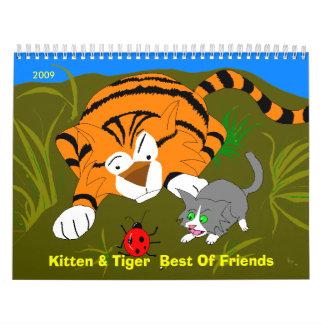 Mejor de amigos, 2009 del gatito y del tigre calendario de pared