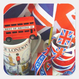 Mejor de recuerdos británicos pegatina cuadrada