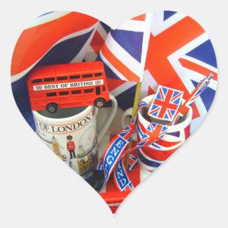 Mejor de recuerdos británicos pegatina en forma de corazón