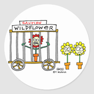 Mejor dibujo animado divertido del Wildflower de Pegatina Redonda