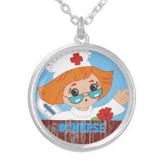 Mejor dibujo animado lindo de la enfermera #1 que collar plateado