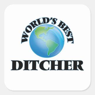 Mejor Ditcher del mundo Pegatina Cuadrada