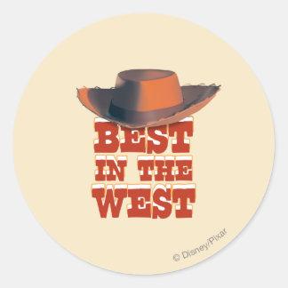 Mejor en el oeste pegatina redonda