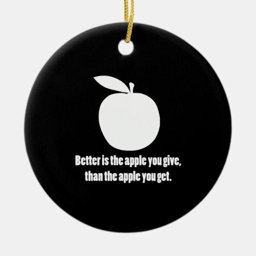 Mejor es Apple que usted da Adorno Navideño Redondo De Cerámica