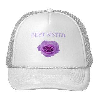 Mejor hermana color de rosa púrpura gorros