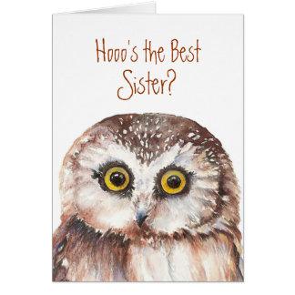 ¿Mejor hermana divertida? Humor sabio del búho del Tarjeta De Felicitación