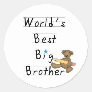 Mejor hermano mayor del mundo pegatina redonda
