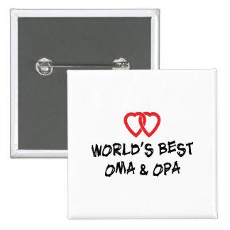 Mejor Oma y Opa del mundo Pin Cuadrado