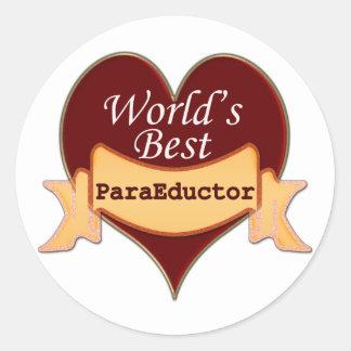 Mejor ParaEducator del mundo Pegatinas Redondas