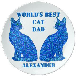 Mejor placa personalizada gato azul del papá del plato de cerámica