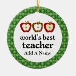 Mejor regalo personalizado de Apple del profesor d Ornamento De Navidad