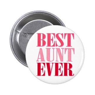 Mejor tía linda Ever Pink Text Pin Redondo 5 Cm