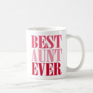 Mejor tía linda Ever Pink Text Taza Básica Blanca