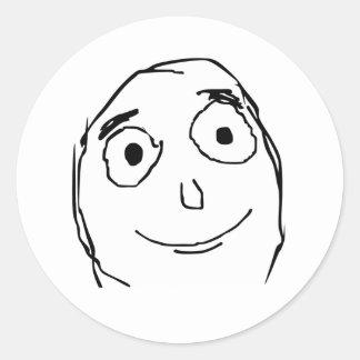 Mejore que la cara prevista Meme de la rabia Pegatina Redonda