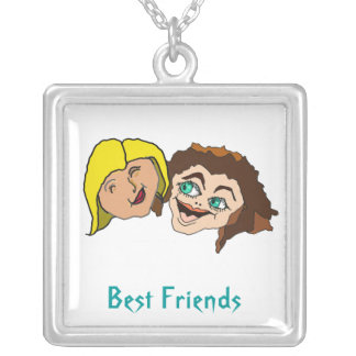 Mejores amigos - amigas colgante cuadrado