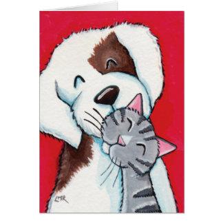 Mejores amigos - arte caprichoso lindo del gato y tarjeta de felicitación