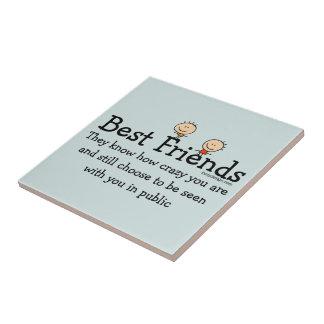 Mejores amigos azulejo cuadrado pequeño