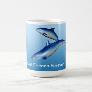 Mejores amigos azules de los delfínes para siempre tazas