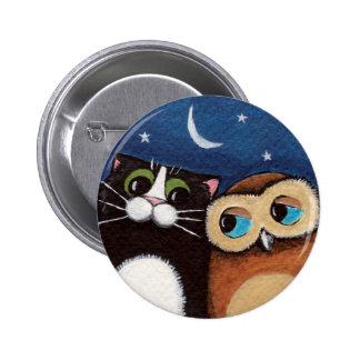 Mejores amigos - botón del arte del búho y del gat pin redondo de 2 pulgadas