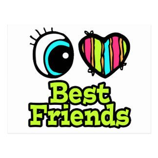 Mejores amigos brillantes del amor del corazón I d Tarjeta Postal