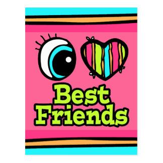 Mejores amigos brillantes del amor del corazón I d Postal