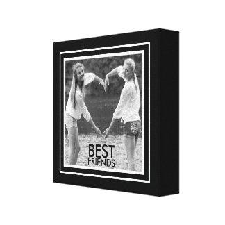 Mejores amigos con el marco blanco y negro lindo impresiones en lienzo estiradas