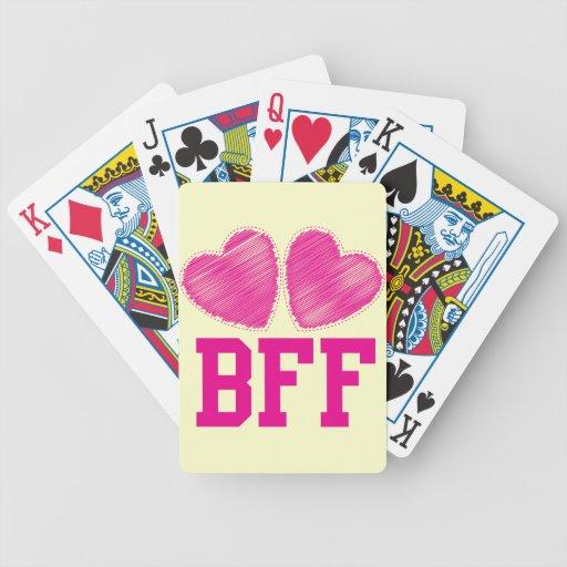 Mejores amigos de BFF para siempre con los corazon Baraja De Cartas Bicycle