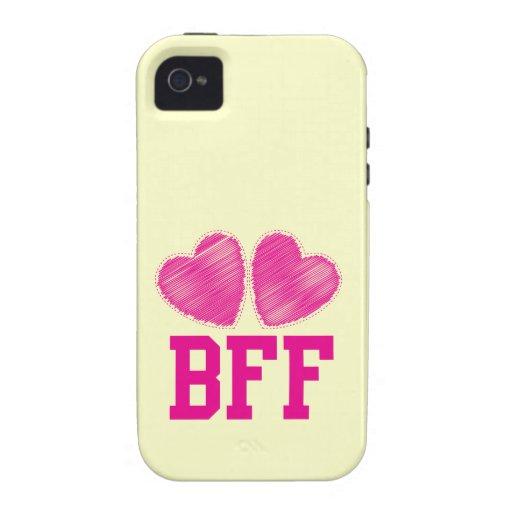 Mejores amigos de BFF para siempre con los corazon Vibe iPhone 4 Carcasas