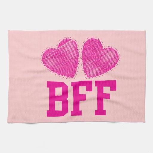Mejores amigos de BFF para siempre con los corazon Toallas De Cocina