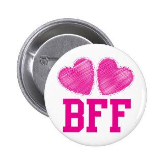 Mejores amigos de BFF para siempre con los corazon Pin Redondo De 2 Pulgadas
