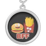 Mejores amigos de la hamburguesa y de las fritadas colgante redondo