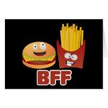 Mejores amigos de la hamburguesa y de las fritadas tarjeta