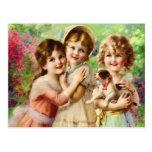 Mejores amigos de los chicas del vintage postal