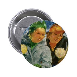 Mejores amigos del vintage; ¡Mujeres elegantes y Pin Redondo De 2 Pulgadas
