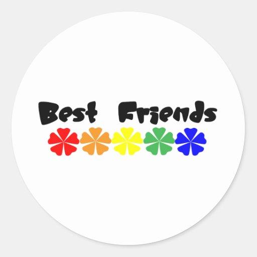 Mejores amigos etiqueta redonda
