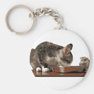 Mejores amigos gato y ratón que comparten el llavero redondo tipo pin