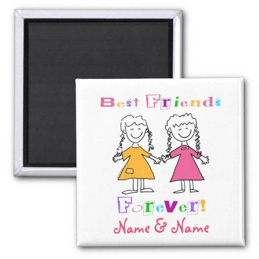 Mejores amigos imán cuadrado