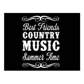Mejores amigos, música country, tiempo de verano tarjetas postales