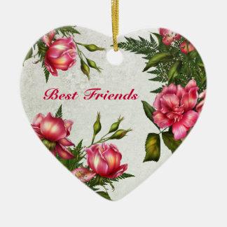 Mejores amigos - ornamento del corazón de los rosa adornos