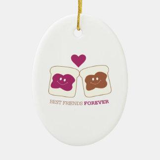 Mejores amigos para siempre adorno navideño ovalado de cerámica