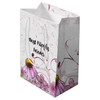 Mejores amigos para siempre, diseño gráfico de la bolsa de regalo mediana