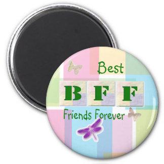Mejores amigos para siempre imán redondo 5 cm